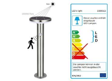 SHADA LED Solar Wegeleuchte Außenstandleuchte 6W 400lm 2700K mit Sensor, Höhe 45cm, EEC: A-A++ (1000563)