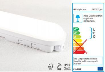SHADA LED-Feuchtraum-Wannenleuchte IP65, 33W 3960lm 4000K, 150cm, EEC: A-A++ (2400232_01)