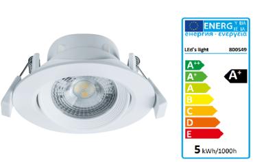 SHADA LED Deckenspot 30° schwenkbar, Farbe weiß, mit LED warmweiss 2700k, 360lm, 5 Watt dimmbar EEC: A+ (800549)
