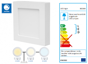 SHADA LED-Panel quadrat 12W 900lm 3000K, 4000K, 6000K, 172x172mm, EEC: A-A++ (0800384)