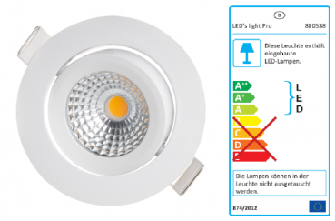SHADA LED Downlight 7W, 350lm, 2000-2700k, Farbe weiss, EEC: A-A++ (800538)