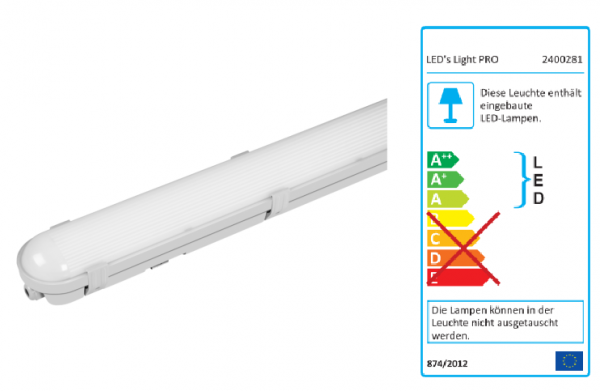 SHADA LED-Feuchtraum-Wannenleuchte IP65, 36W 4320lm 4000K, 120cm, EEC: A-A++ (2400281_01)